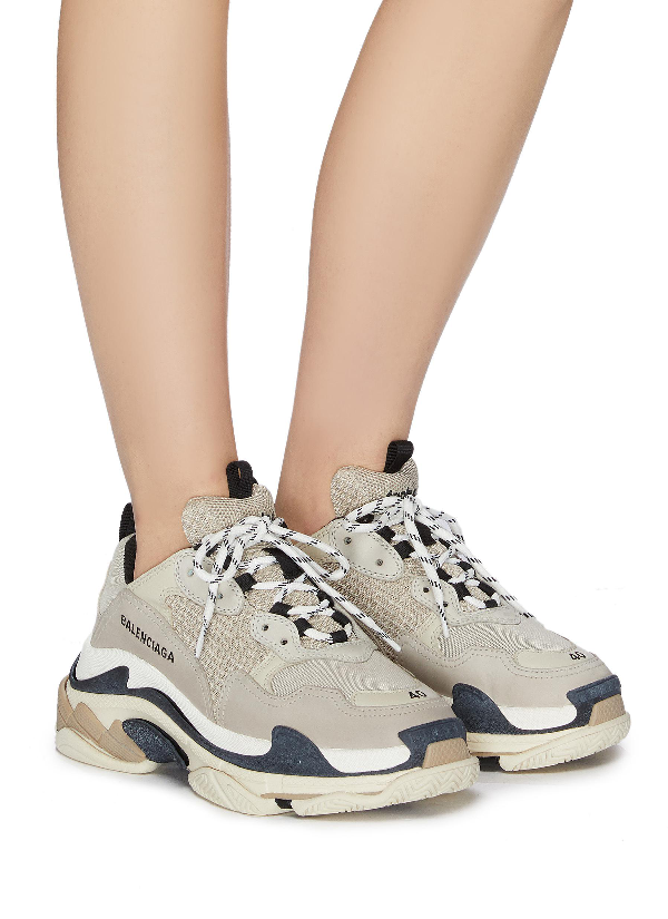 pas mal e8f52 41584 Triple S Logo-Embroidered Leather, Nubuck And Mesh Sneakers in Neutrals