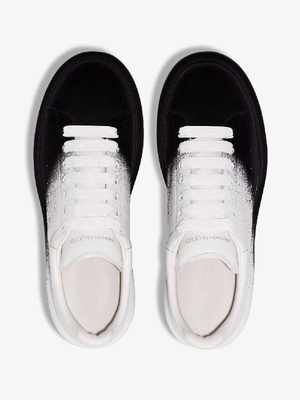 Alexander Mcqueen 'Oversized Sneaker' In Colourblock Flocked Leather In White