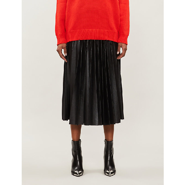 d4e1b177fd9 Givenchy Pleated Faux-Leather Skirt In Black | ModeSens