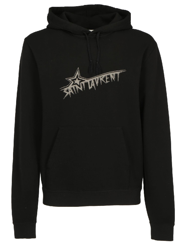 Saint Laurent Men's Star Logo Hoodie Sweatshirt W/ Kangaroo Pocket In 1095 Black