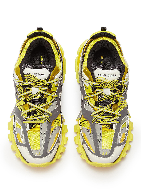 Balenciaga Men's Mixed-Media Leather Track Sneakers In Yellow