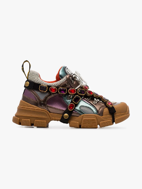 811bab45b Gucci Flashtrek Embellished Logo-Embossed Metallic Leather And Mesh Sneakers  In Brown