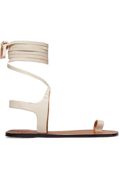Atp Atelier Candela Leather Sandals In White