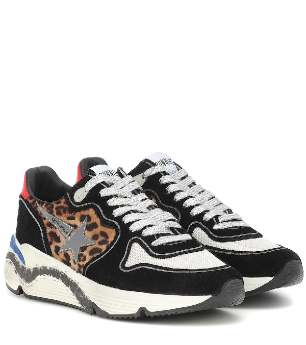 dd62224b375f Golden Goose Running Sole Printed Calf Hair, Leather And Mesh Sneakers In  Multicoloured