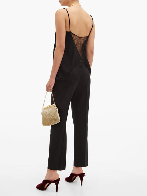 Givenchy - Lace Trimmed Velvet Camisole - Womens - Black
