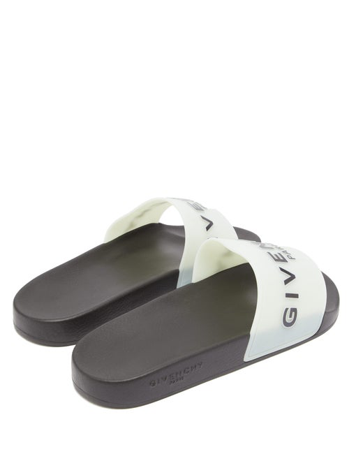 Givenchy Logo Glow-In-The-Dark Rubber Slide Sandals In White