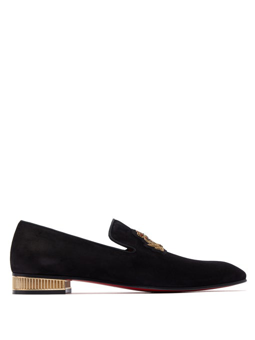 Christian Louboutin Men's Captain Colonnaki Embroidered Venetian Loafers In Black