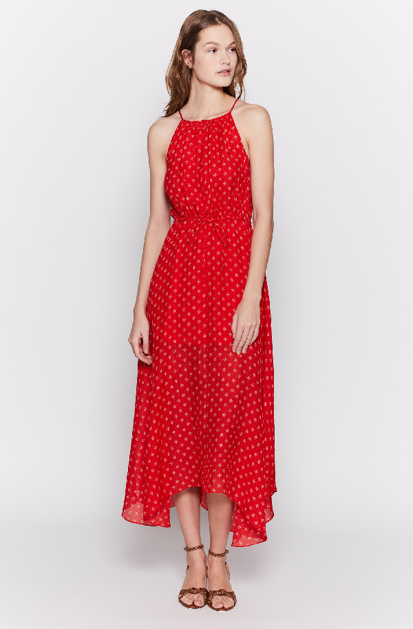 Joie Matalina Crinkled Silk Halter Dress In Tropic Red