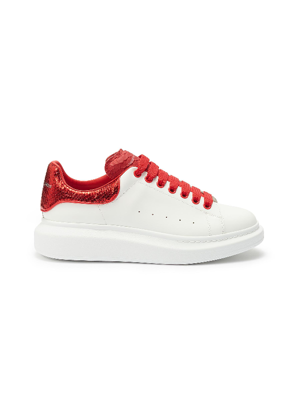 Alexander Mcqueen 'Oversized Sneaker' In Leather With Snake Embossed Collar In White