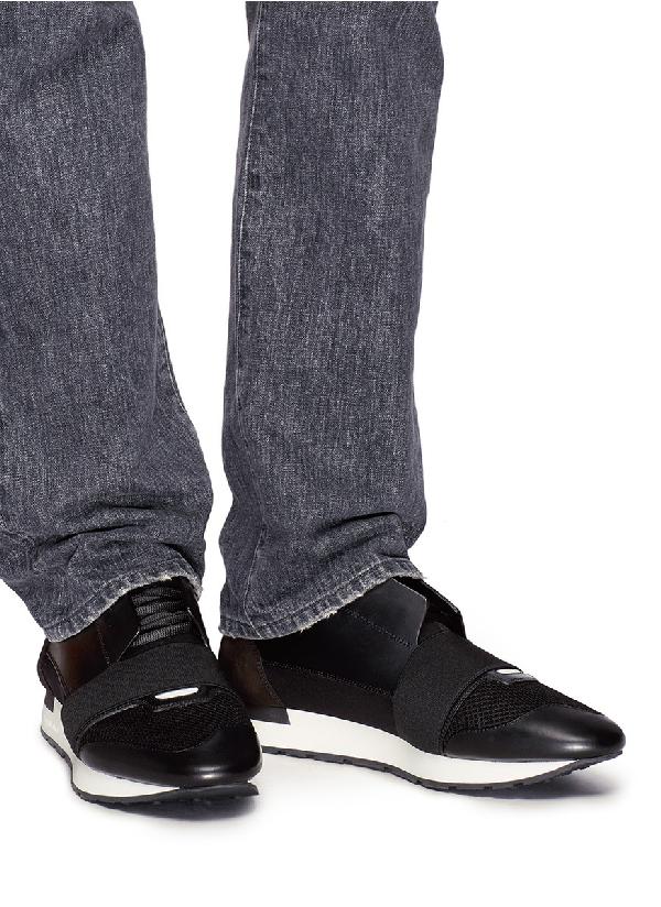 Balenciaga Low-Top Sneakers Race Runner Calfskin Mesh Smooth Leather Logo Black White