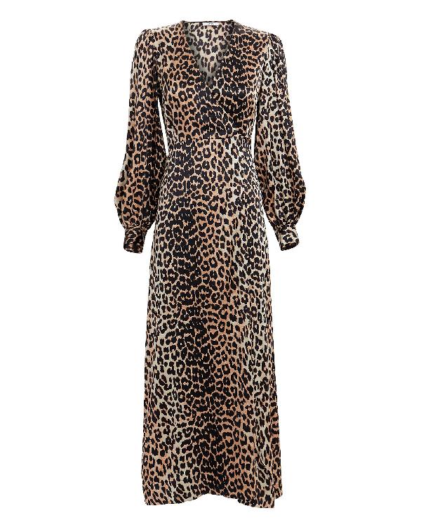 09008ab7a0e Ganni Leopard Print Satin Wrap Dress In Multi | ModeSens