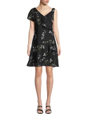 Abs By Allen Schwartz Printed Ruffle A-Line Dress In Dainty