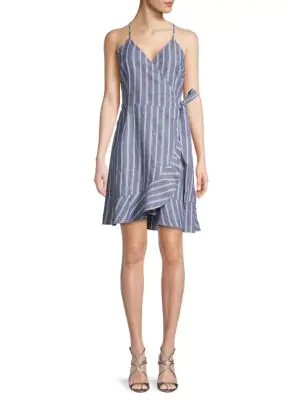 Abs By Allen Schwartz Striped Linen & Cotton Blend Wrap Dress In Blue
