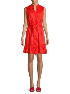 Abs By Allen Schwartz Pleated Collar Button-Front Dress In Fiesta Orange