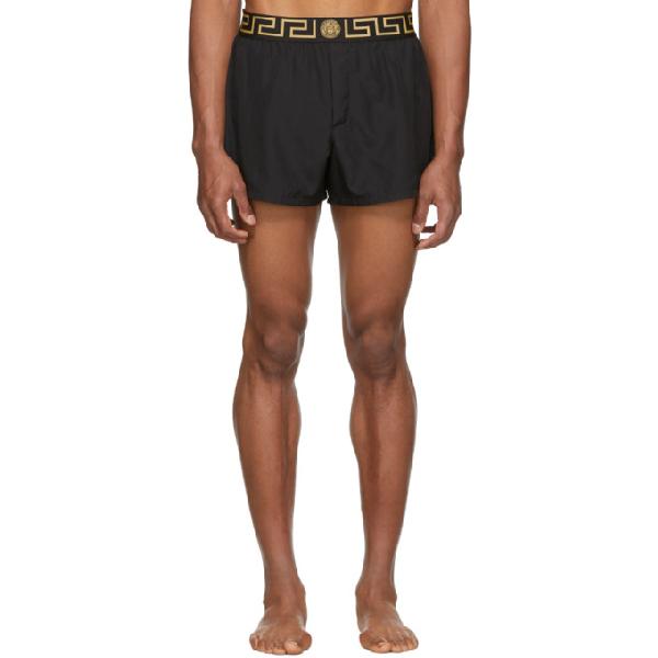 9805fca74c Versace Underwear Black Greek Key Border Swim Shorts in A80G Black