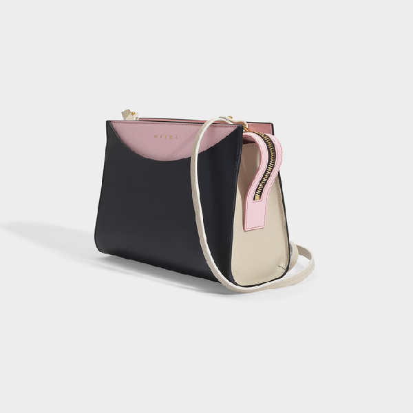 Marni | Law Crossbody Bag In Pink, Black And White Leather