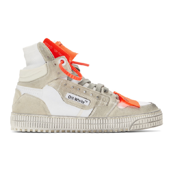 Off-White Off-Court 3.0 Distressed Suede, Leather And Canvas High-Top Sneakers In White
