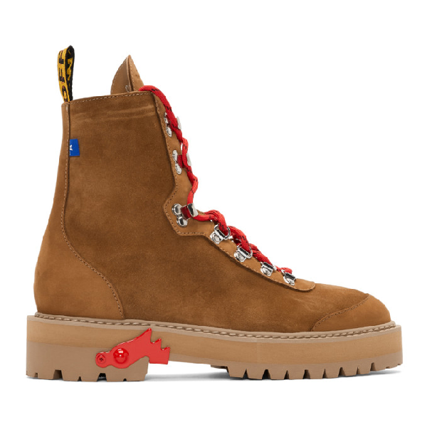 c33651622df63 Off-White Men's Suede Logo-Web Hiking Boots In Brown   ModeSens