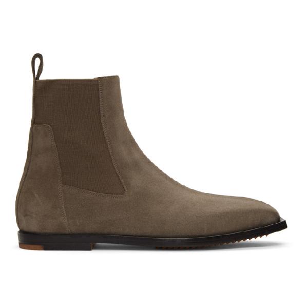 7f562a329e7 Rick Owens Brown Flat Square Toe Elastic Boots