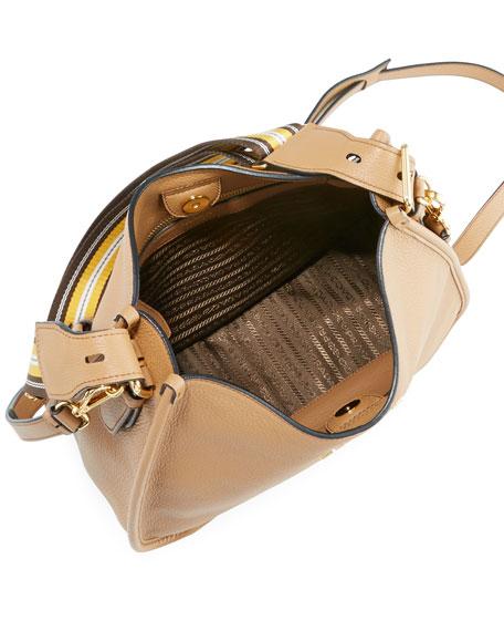 PRADA DAINO CALF LEATHER HOBO BAG WITH CROSSBODY STRAP,PROD148400012