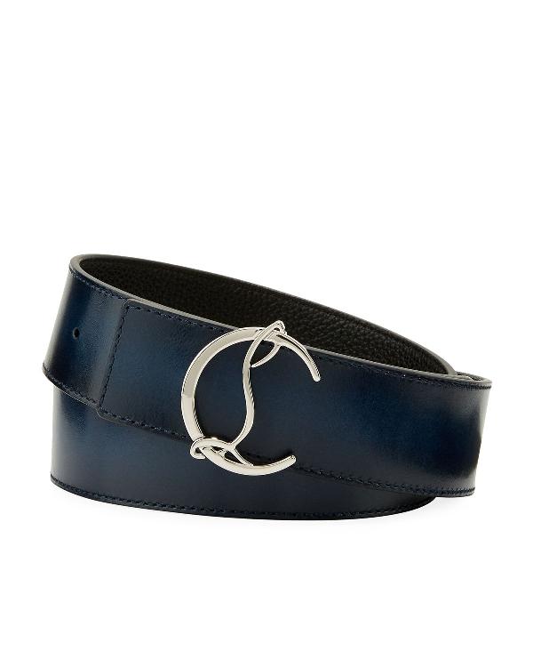 Christian Louboutin Men's Reversible Cl Logo Leather Belt In Blue/Black