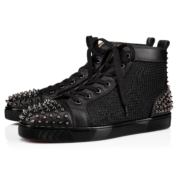 pick up cc796 fad3b Men's Lou Spiked Leather High-Top Sneakers in Black