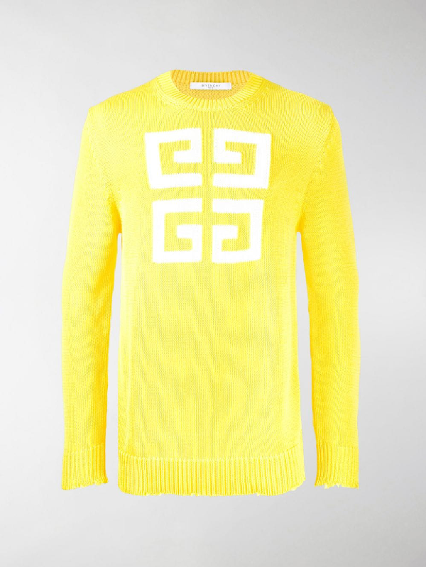 Givenchy Logo Sweater In Yellow