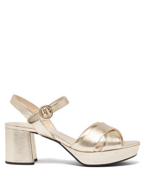 Prada Metallic Leather Crisscross Ankle-Wrap Sandals In Gold