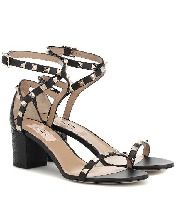 4e3b9a082 Valentino Rockstud Block-Heel Leather Sandals In Black | ModeSens