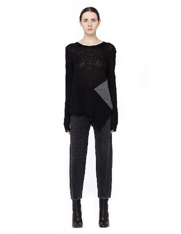 Yohji Yamamoto Asymmetric Button-Down Sweater In Black