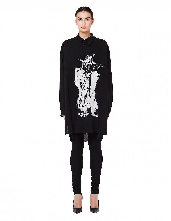 Yohji Yamamoto Black Printed Long Shirt In White