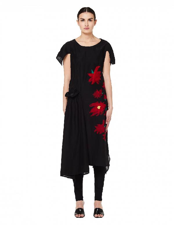 Yohji Yamamoto Flower Printed Silk Dress In Black