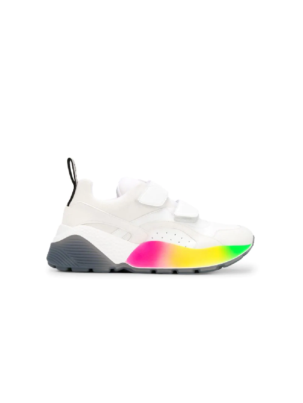 Stella Mccartney 'Eclypse' Colourblock Chunky Outsole Faux Leather Sneakers In 9041 White Rainbow