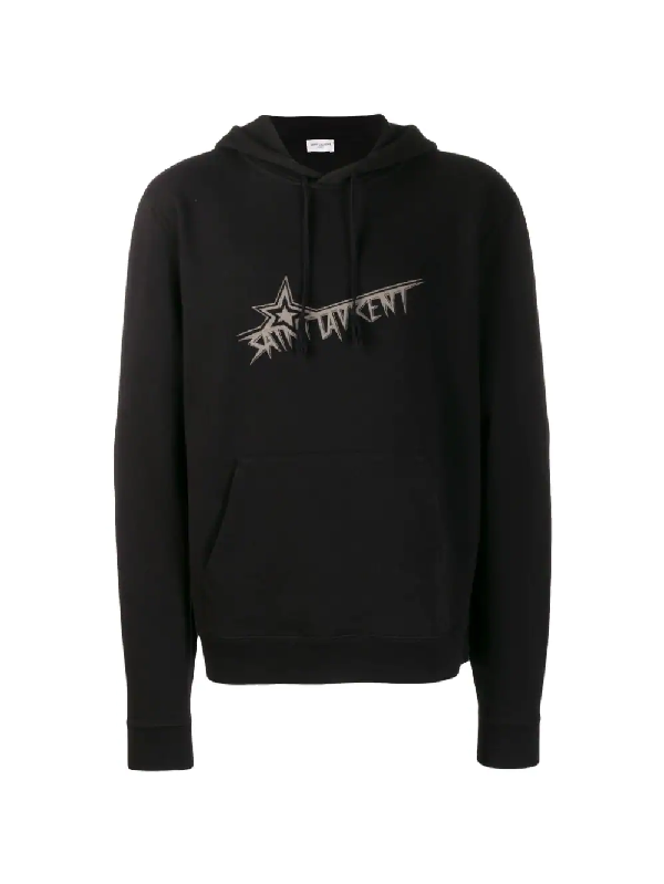 Saint Laurent Men's Star Logo Hoodie Sweatshirt W/ Kangaroo Pocket In Black