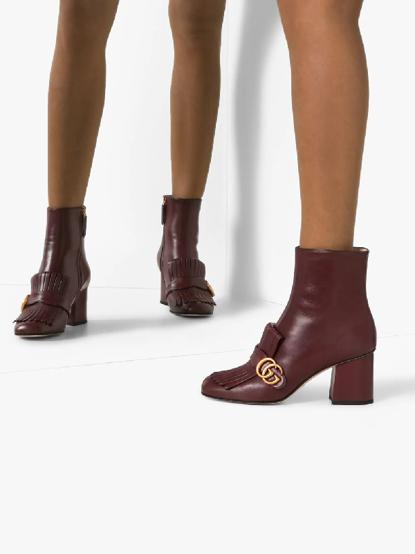 Gucci Gg Marmont Kiltie Fringe Leather Booties In Red