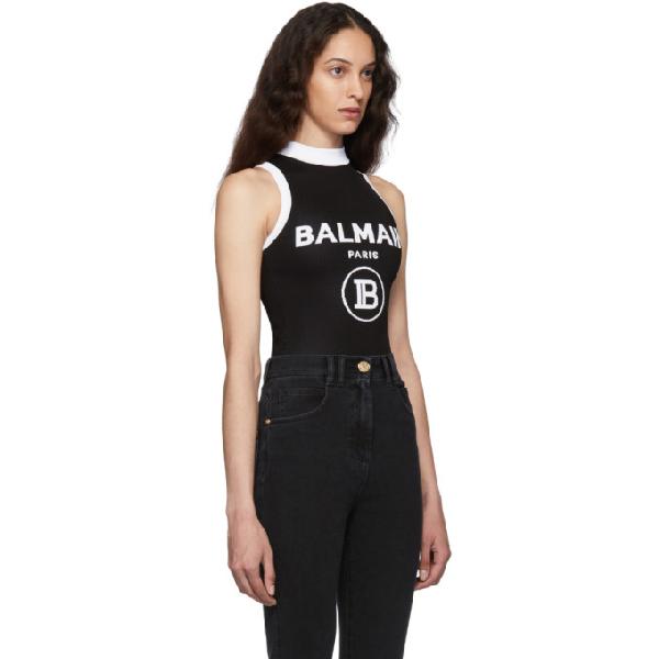 Balmain Branded Sleeveless Stretch-Knit Body In Eab Noir