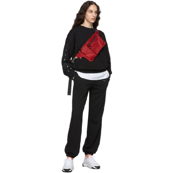 OFF-WHITE OFF-WHITE BLACK AND SILVER UNFINISHED SLIM LOUNGE PANTS