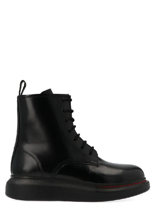 Alexander Mcqueen 'Oversized Combat Boot' In Leather In Black