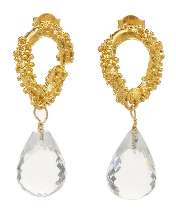 Alighieri Gold-Plated The Initial Spark Crystal Earrings