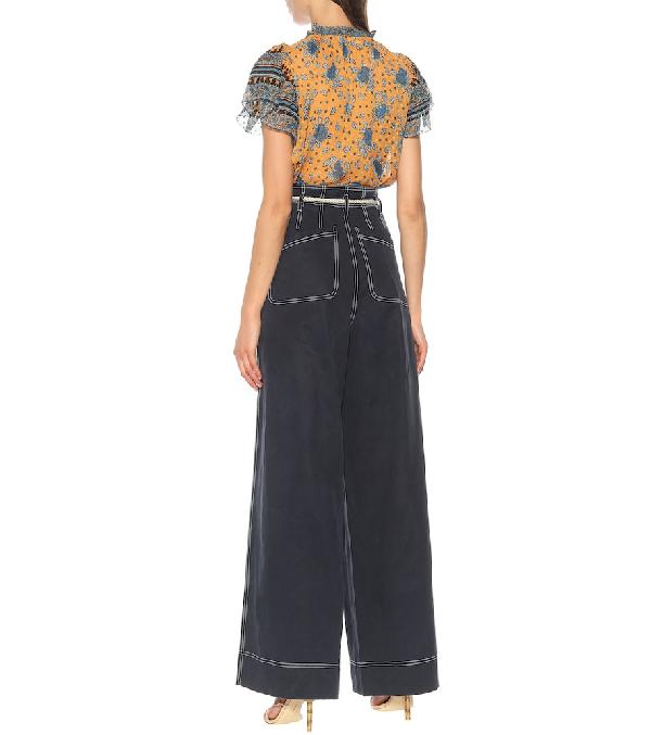 Ulla Johnson Soren Belted Tencel And Cotton-Blend Wide-Leg Pants In Midnight Blue
