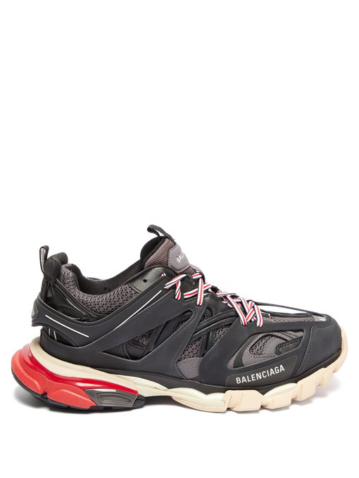 Balenciaga Low-Top Sneakers Track Nylon Polyester Polyurethane Logo Black Grey Red