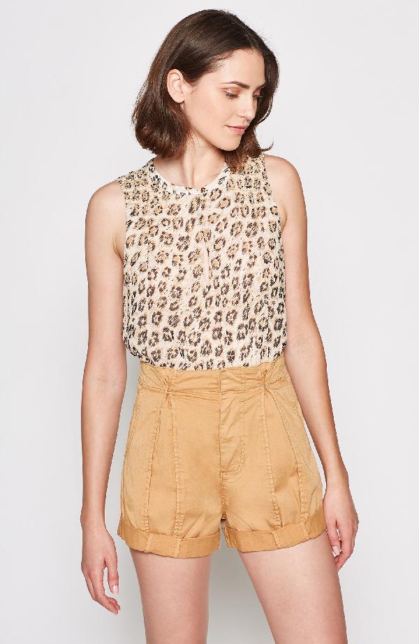 Joie Corie Leopard Print Sleeveless Silk Top In Cappuccino