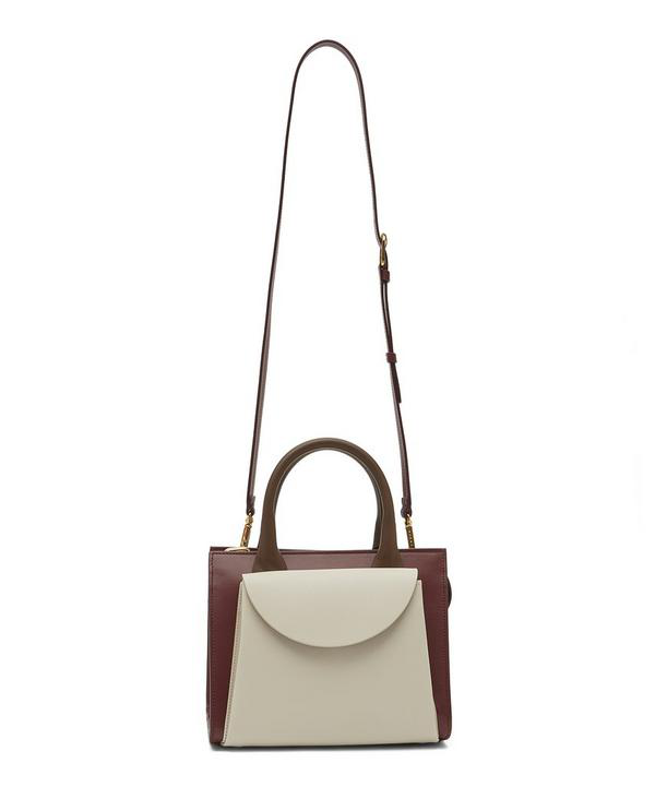 Marni Law Two-Tone Leather Cross-Body Bag In Antique White And Ruby
