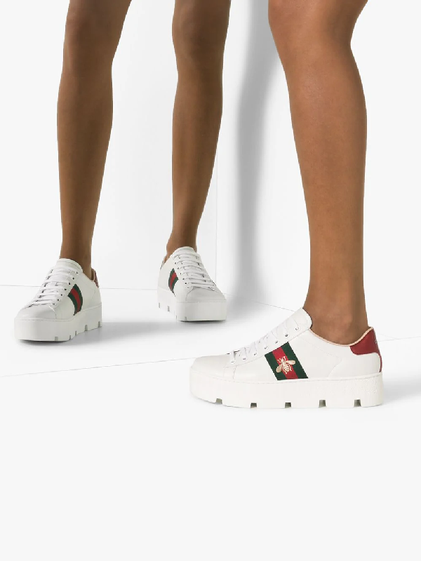 Gucci Ace Embroidered Platform Sneakers In White In 9064 Bianco