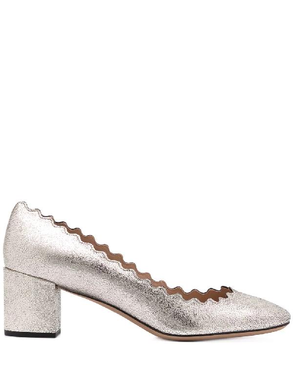 Lauren 50Mm Scalloped Metallic Leather Block Heel Pumps in 045 Grey Glitter