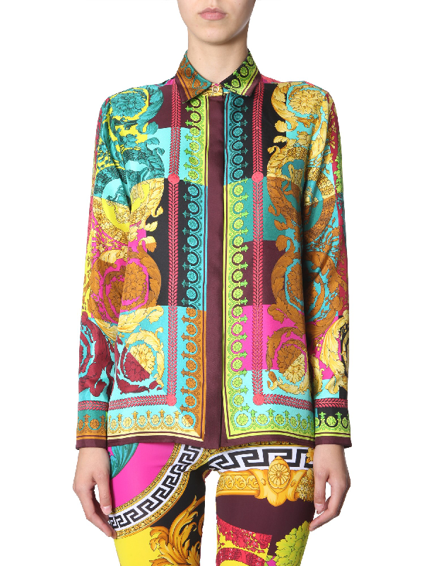 Versace Colorblock Mixed Print Silk Shirt In Blue