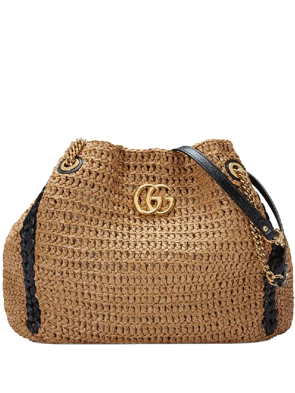 2816928f4 Gucci Gg Marmont Woven Shoulder Bag In Neutrals | ModeSens