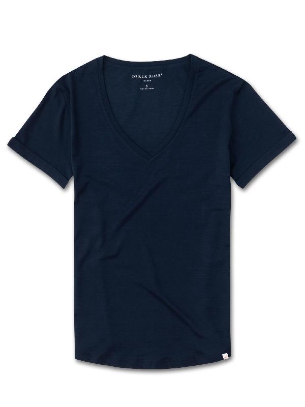 Derek Rose Women's V-Neck T-Shirt Lara Micro Modal Stretch Navy