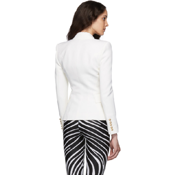 Balmain Double-Breasted Grain De Poudre Wool Blazer In White
