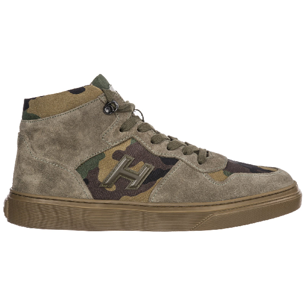 Men's Shoes High Top Suede Trainers Sneakers H365 in Green